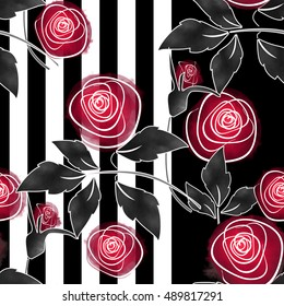 Seamless abstract red roses simple background
