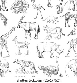 Seamless animal planet pattern,