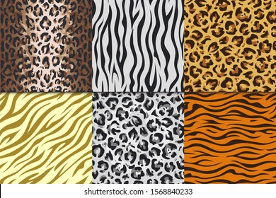 Seamless animal prints. Leopard tiger zebra skin patterns, texture stripes backgrounds.  Africa animals leathers different seamless patterns