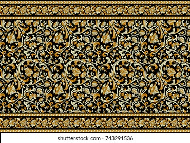 Seamless antique floral border