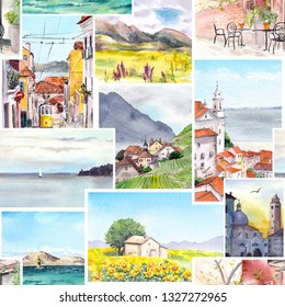 Seamless architecture pattern - views and landscapes of cityes, sea, mountains. Watercolor travel arch design