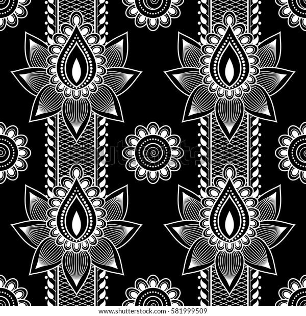 Seamless asian ethnic floral pattern. Mehndi design. Illustration.