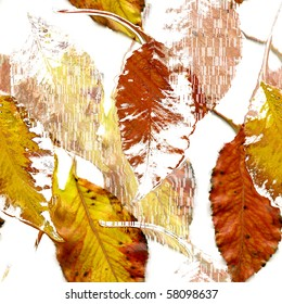 Seamless Autumn Leaves Art Abstract Design