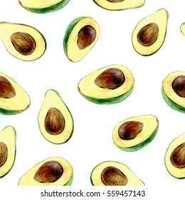 Seamless avocado pattern. Colored pencil sketch