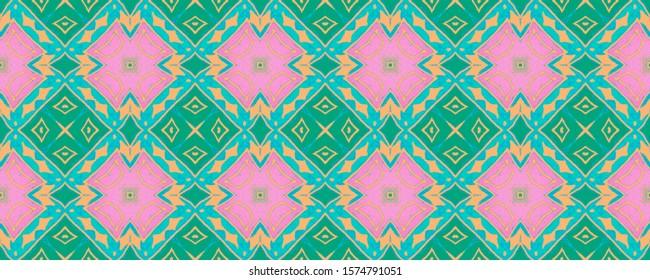 Seamless Aztec Pattern. Tribal print. Fashion Navajo Repeat Ornament. Majolica Ornament. Azulejo Seamless Panorama. Hand Drawn Tile Scetch. Tiles Spain Ornament.