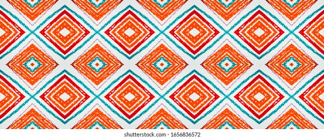 Seamless Aztec Print. Vintage Ethnic Ornament. African Wallpaper with Drawn Zigzags. Aztec Pattern. Red Abstract Navajo Design. Traditional Ikat Chevron. Native Motif. White Aztec Print.