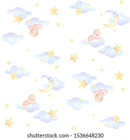 Seamless baby pattern. Kids prints. Baby sleeping on the cloud. Girl who winks. Night. Moon, stars sleep. Watercolor. White background. Print quality