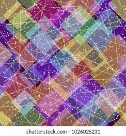 Seamless Background, Abstract Tile Pattern, Colorful Geometrical Figures and Lines