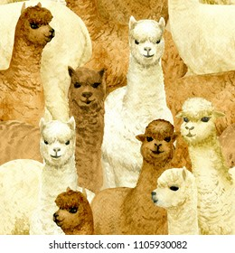 Seamless background with alpacas hand-drawn with watercolor