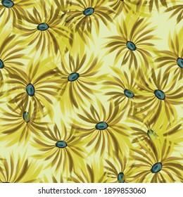 Seamless background. Beautiful flowers. Stylization: watercolor.