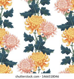 Seamless background. Borders of yellow and pink Japanese chrysanthemums