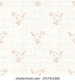 Seamless background Carnotaurus dinosaur with foot print gender neutral baby pattern. Simple whimsical minimal earthy 2 tone color. Kids nursery wallpaper or boho cartoon animal fashion all over print