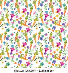 Seamless background, Carrot and flowers. Watercolor clipart, child, kid, baby-born, babyshower, decoration, scrapbooking, design