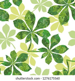 Seamless Background, Chestnut Green Leaves with Pattern of Leaves and Silhouettes.