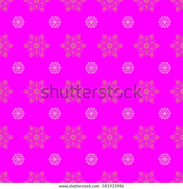 Seamless background for Christmas with decorative snowflakes. Pattern on magenta background. Design.