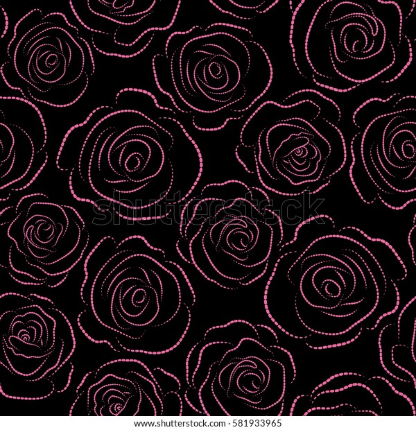 Seamless background with colored spots. Seamless background in pink roses silhouette.