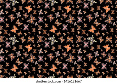 Seamless background of colorful butterflies. Decor on black, brown and orange background for clothing design. Raster illustration.