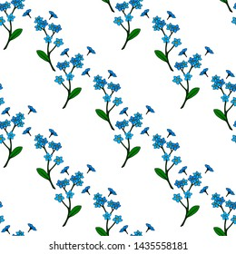 Seamless background of cozy blue flowers forget-me-nots. Endless pattern for your design. raster copy
