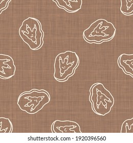 Seamless background dinosaur foot fossil gender neutral baby pattern. Simple whimsical minimal earthy 2 tone color. Kids nursery wallpaper or boho cartoon animal fashion all over print.