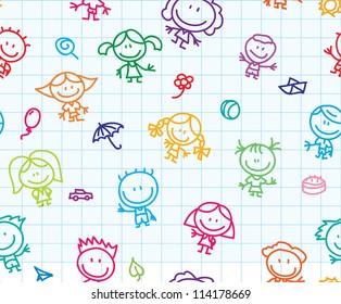 Antecedentes impecables de niños felices con doodle en la textura de papel escolar