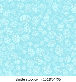 Seamless background with Easter eggs on blue background. Holiday pattern with decorative eggs, illustration.