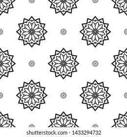Seamless background Eastern pattern, Arabic pattern, Mandala ornament. Elements of flowers and leaves. Use for wallpaper, print packaging paper, textiles