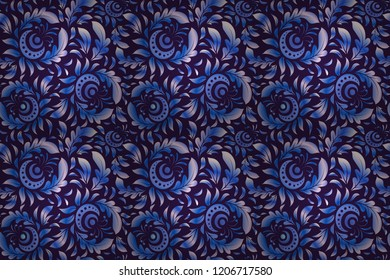 Seamless background. Elegant raster damask wallpaper. Vintage seamless pattern in blue and violet colors.