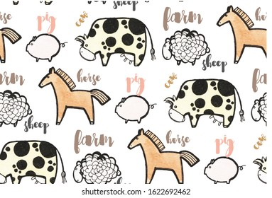 seamless background with farm animals, lettering cow, farm, pig, sheep, pig, funny farm animals, freehand drawing, primitive, stylized animals, watercolor farm animals