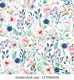 Seamless background, floral pattern watercolor. Fabric wallpaper print texture. Perfectly for background, texture, wrapper pattern, frame or border.