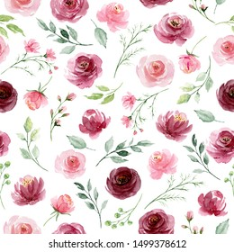 Seamless background, floral pattern with watercolor flowers pink and burgundy roses. Repeat fabric wallpaper print texture. Perfectly for wrapped paper, backdrop, frame or border.