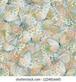 Seamless background. Flowers. Butterflies. Stylization: watercolor.