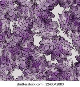 Seamless background. Flowers. Chrysanthemums. Stylization: watercolor.