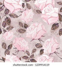 Seamless background with flowers and leaves. Floral pattern for Wallpaper, paper and fabric. Watercolor hand drawing. Pink rose.