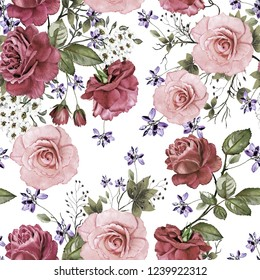 Seamless background with flowers and leaves. Floral pattern for Wallpaper, paper and fabric. Watercolor hand drawing Maroon roses.