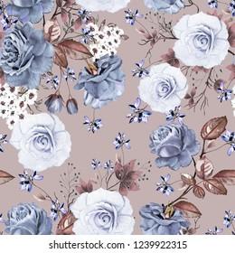 Seamless background with flowers and leaves. Floral pattern for Wallpaper, paper and fabric. Watercolor hand drawing. Blue rose.
