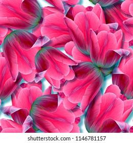Seamless background. Flowers. Tulips. Stylization: watercolor.