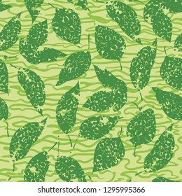 Seamless Background with Green Leaves on Abstract Tile Pattern.