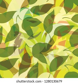 Seamless Background, Green Leaves Silhouettes on Abstract Tile Pattern.