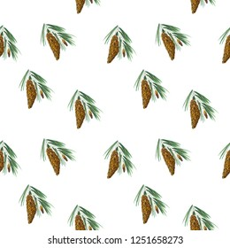 Seamless background with Hand drawn pine cone
