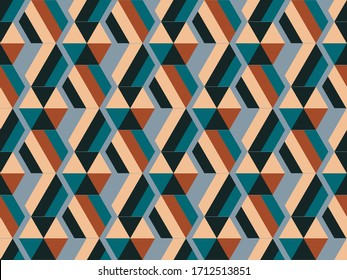 Seamless background image with bright and colored elements. Spring theme pattern with  hexagon and  polygon. Beautiful background.