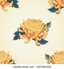 Seamless background with Japanese embroidery and chrysanthemum flowers and leaves