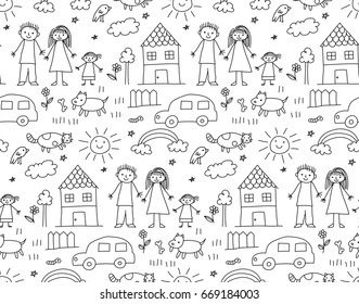 Seamless background of kid drawing with family, house and other object
