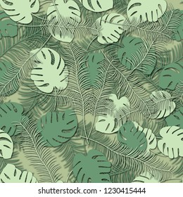 Seamless background with leaves of an exotic plant. Jungle.