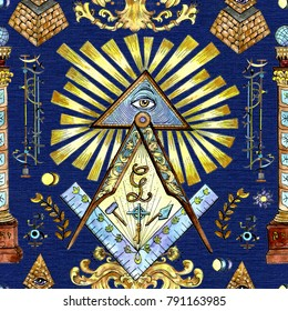 Seamless background with mason and mystic symbols on blue. Freemasonry and secret societies emblems, occult and spiritual mystic drawings. Tattoo fantasy design, new world order