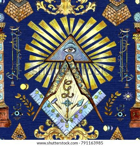 Seamless Background Mason Mystic Symbols On Stock Illustration