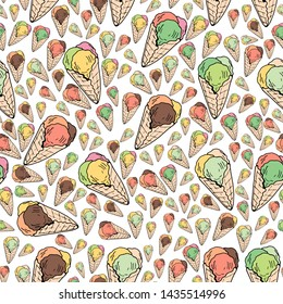 Seamless background of multicolored ice cream cones. Endless pattern with colorful ice cream for your design. raster copy