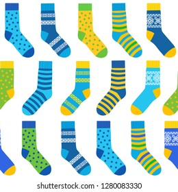 seamless background of multi-colored socks with patterns and stripes. bitmap