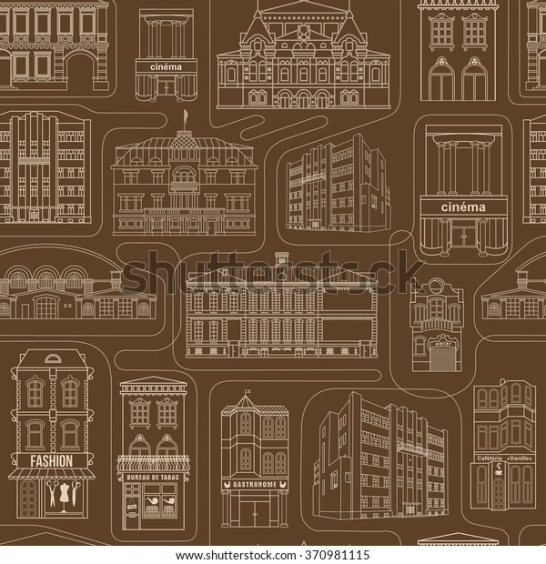 Seamless Background Old Colorful Buildings Wallpaper Stock