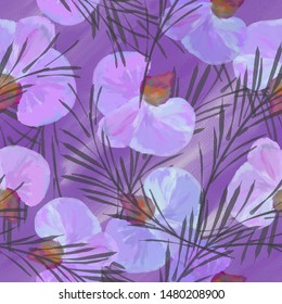 Seamless background. Orchids. Flowers. Background.  Tropics. Exotic plants.  Stylization: watercolor.