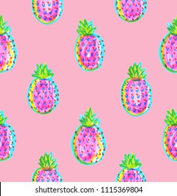 Seamless background pattern with bright neon pink and blue tropical pineapples painted in highlighter felt tip pen on pastel pink background